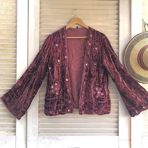 Vintage Rajasthani Velvet Jacket - Garnet  L/XL.