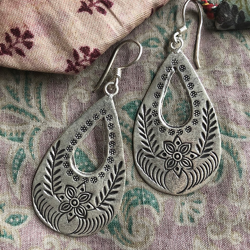 Hilltribe Wildflower Teardrop Earrings