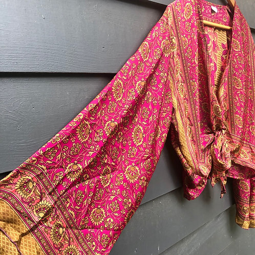 Indian Silk Sari Wide Sleeve Top