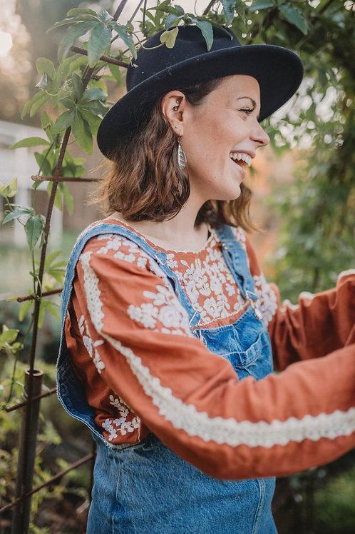 Fleetwood Folk Blouse Long sleeve ~ Henna