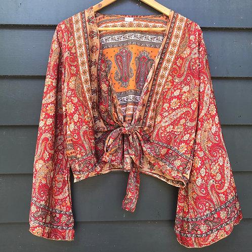 Indian Silk Sari Wide Sleeve Top