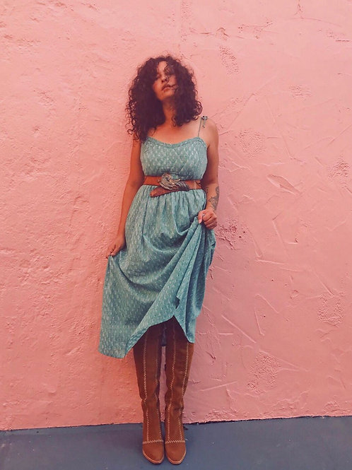 Bagru Strappy Sun Dress ~ Teal