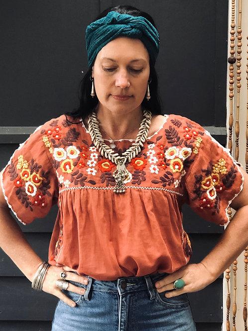 Fleetwood Folk Blouse ~ Terracotta with Autumn Tones.