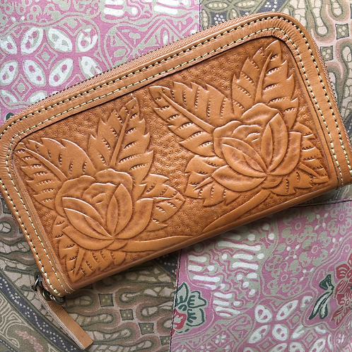 Tooled Leather Roses Wallet