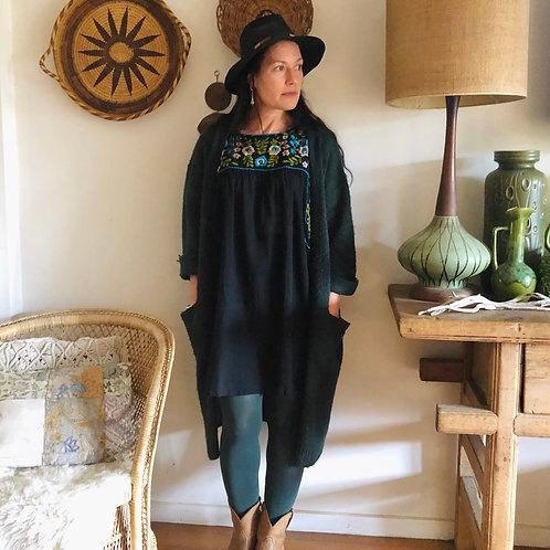 Fleetwood Folk Dress ~ Black with Olive, Bone & Green.