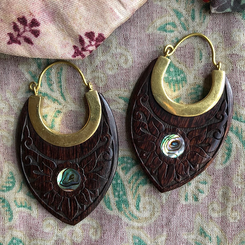 Sustainable Coconut Wood & Shell Earrings
