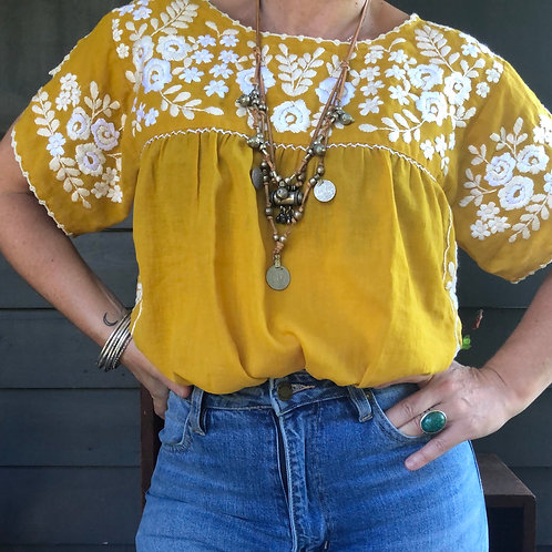 Fleetwood Folk Blouse ~ Mustard with cream and white embroidery