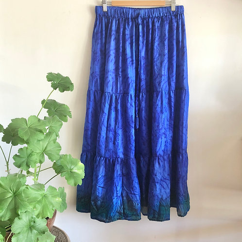 Indian Silk Tiered Maxi Skirt L/XL