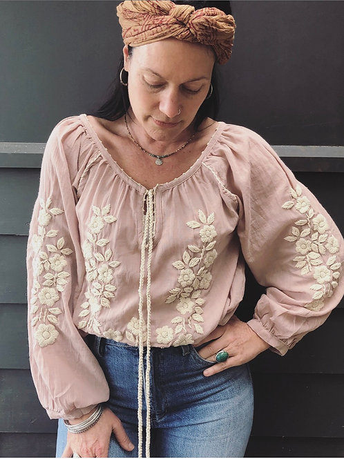 Freya Folk Blouse  - Dusty Pink