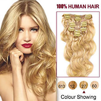 Uxury 100 human hair extensions wigs ideal hair solutions llc strawberry blonde wavy 27 7pcs clip in human hair extensions grade 8a pmusecretfo Image collections