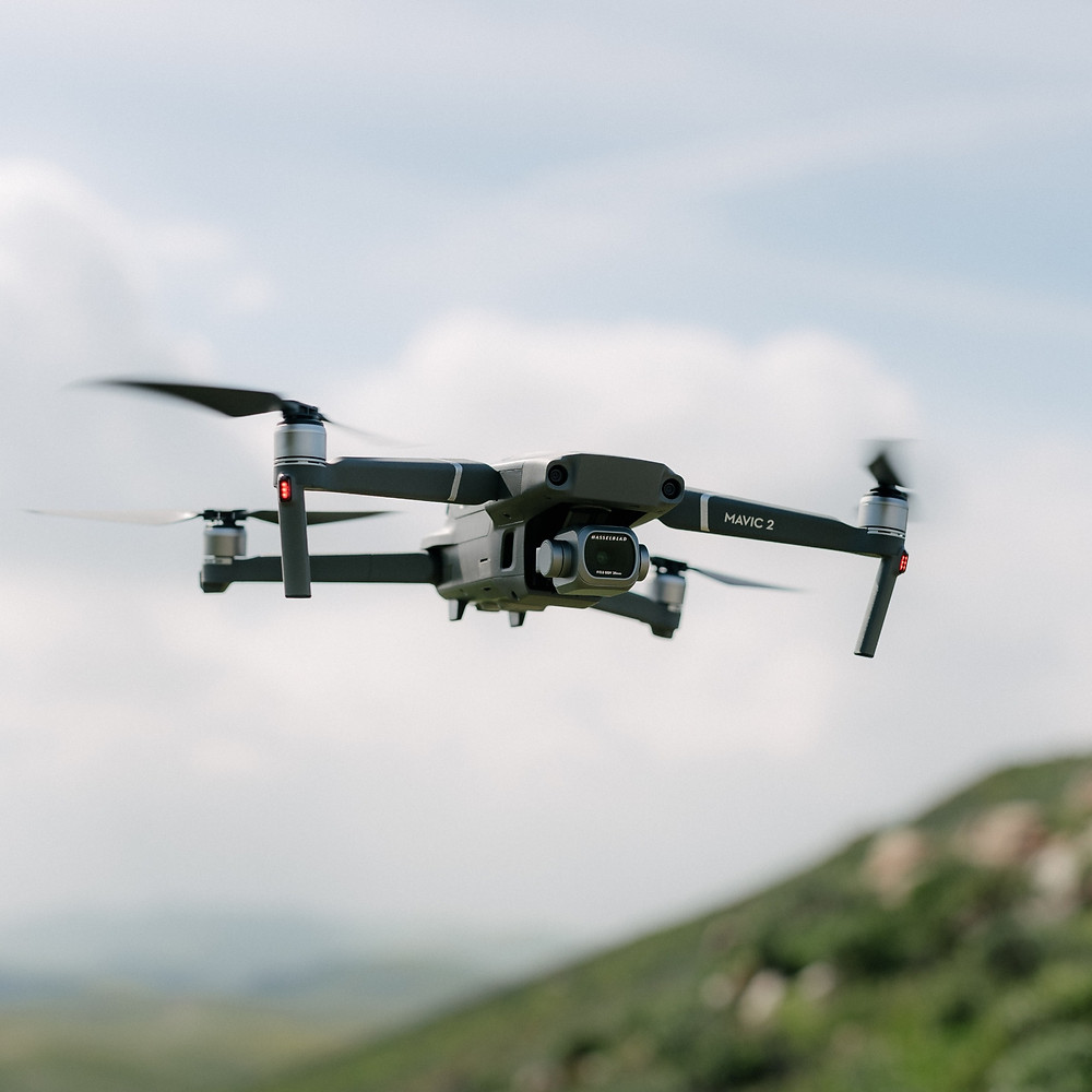 Mavic 2 Pro flying. Shallow depth of field.