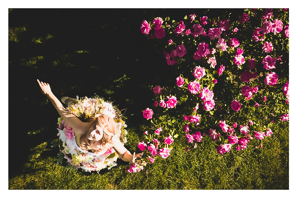 Overhead shot of girl in a rose garden