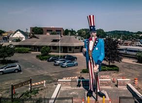 Connecticut Drone Photography: Iconic Danbury Fair Uncle Sam Statue