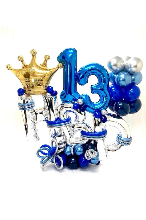 Quick Order - Large number/name crown Balloon Arrangement