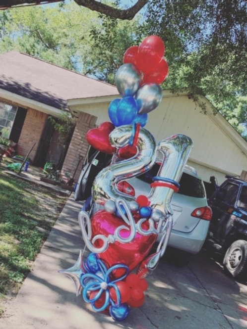 Quick Order - Medium b-day Love Balloon Arrangement