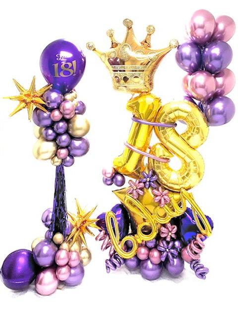 Quick Order - bday star 2pc w/crown & flowers Balloon Arrangement Set