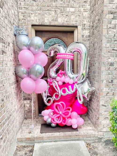 Quick Order - Medium b-day Love Balloon Arrangement