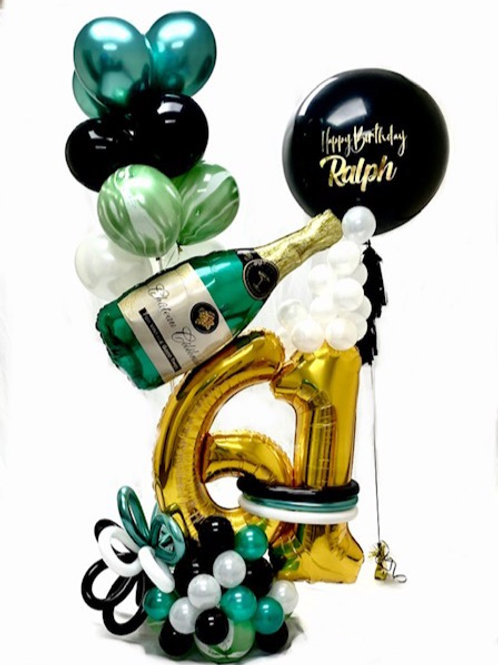 Quick Order - Large Digit Champagne Bottle Balloon Arrangement