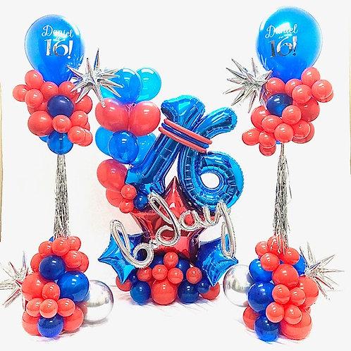 Quick Order - bday star 3pc Balloon Arrangement Set