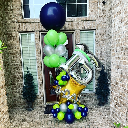 Quick Order - Medium b-day Star Balloon Arrangement