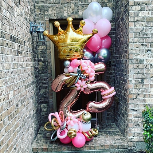 Quick Order - Medium Crown Digit Balloon Arrangement