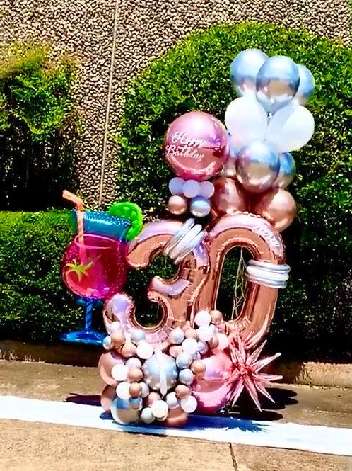Quick Order - Large Digit Drink w/Name Balloon Arrangement