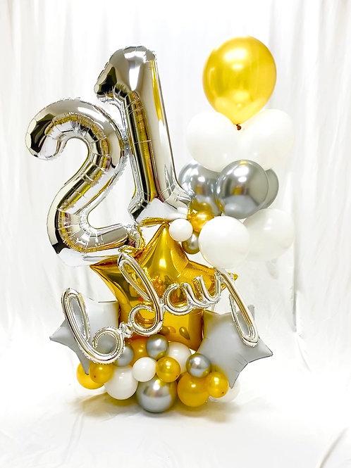 Quick Order - Medium b-day Stars-2 Balloon Arrangement