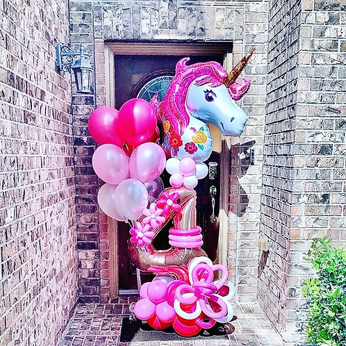 Quick Order - Medium Flower Unicorn Balloon Arrangement