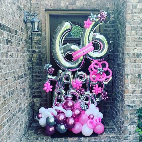 Quick Order - Large Happy B-Day Digit Balloon Arrangement