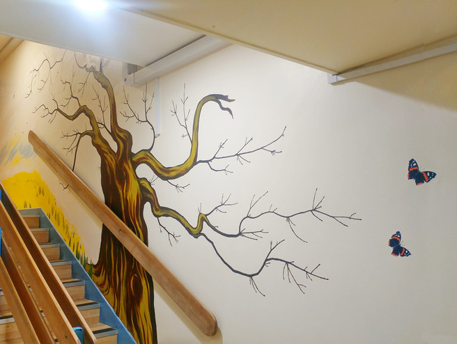 School Oak Tree with bar branches so art