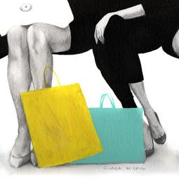 Illustration of women shopping