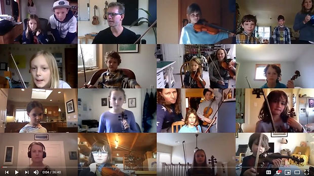 Fiddle students practicing on Zoom
