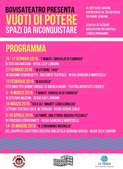 RASSEGNA TEATRALE 2016 TEATRO PAVONI BOVISATEATRO
