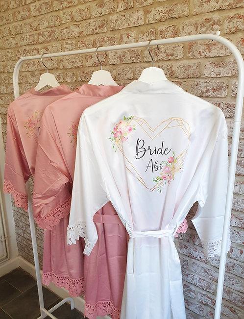 Heart Design satin robes