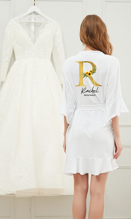 Sunflower Print ruffle robes