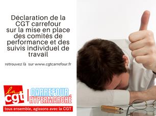 Déclaration de la CGT sur la mise en place des comités de performance et des suivis individuel