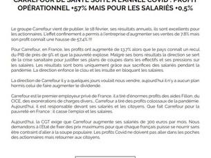 CARREFOUR DE SANTÉ SUITE À L'ANNÉE COVID : PROFITOPÉRATIONNEL +57% MAIS POUR LES SALARIÉS +0,5%