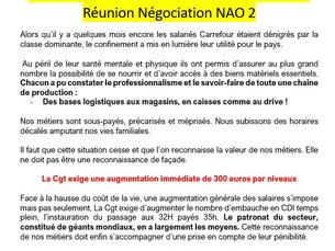 la déclaration faite par notre organisation syndicale lors de la deuxième réunion NAO