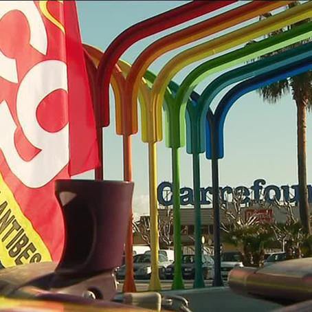 Carrefour Antibes bloqué par le Cgt carrefour ce Vendredi 09 février 2018