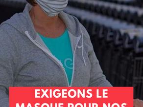 Courrier de la Cgt carrefour hyper à la direction de carrefour France concernant le port du masque