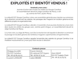 Communiqué de presse : Journée d'action le 05 mars 2021 à Massy