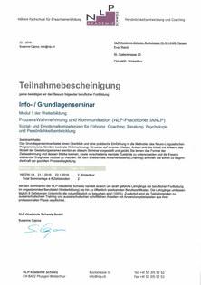 Teilnahmebescheinigung NLP 1