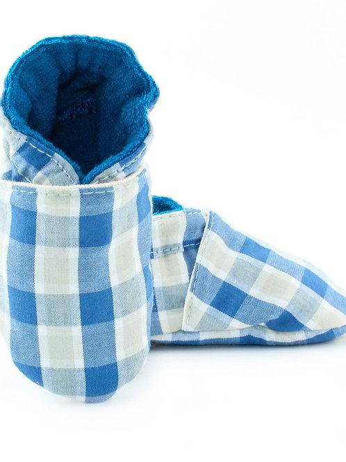 Sapatinho de Bebe Xadrez Azul, Oogie by Yandoo