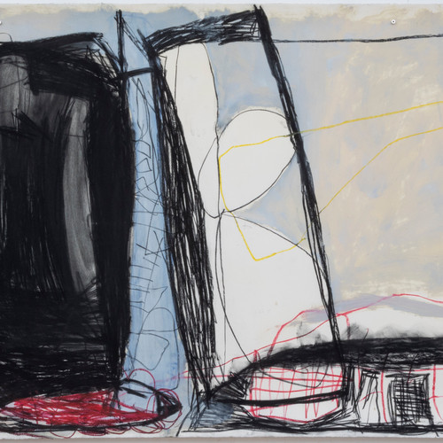 115 x 297 cm  giz pastel seco, giz pastel oleoso, lápis conté, tinta óleo sobre papel