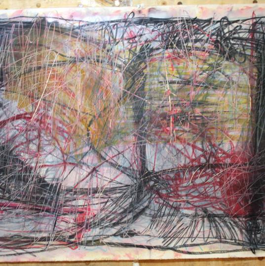 115 x 193 cm   tinta óleo, bastão oleoso, giz pastel seco e giz pastel oleoso sobre papel