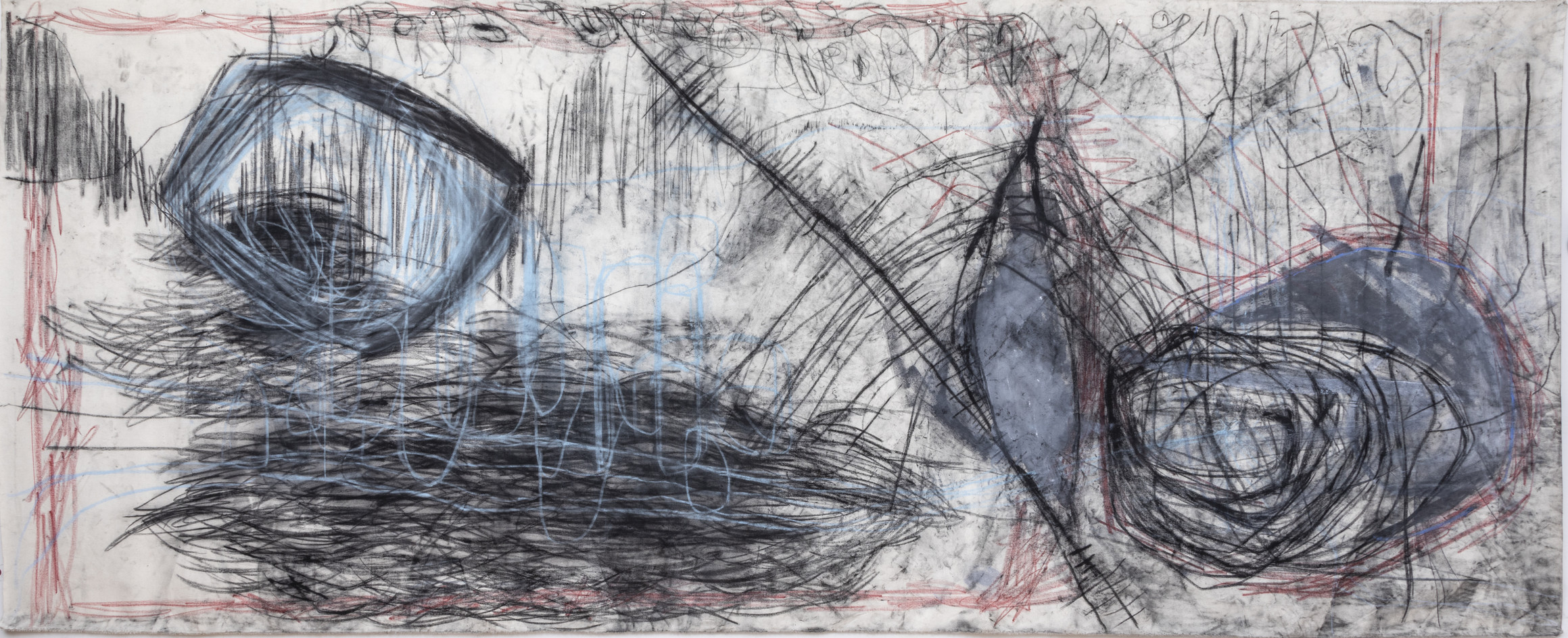 170 x 400 cm giz pastel seco, tinta acrílica, giz de cera sobre lona foto: Ruy Teixeira