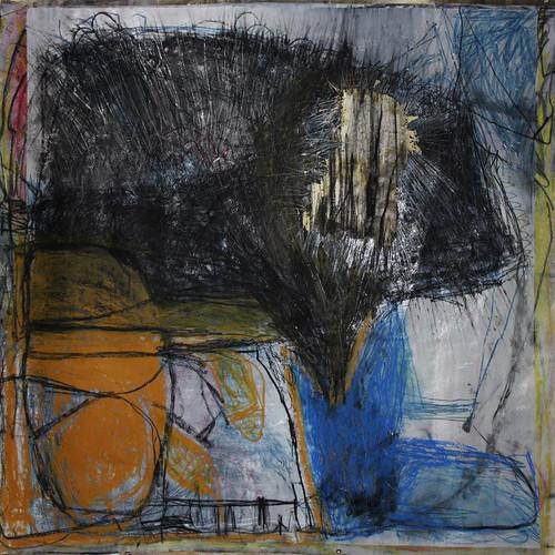 151 x 156 cm  giz pastel seco, gis pastel oleoso, bastão oleoso, tinta oléo, papel seda sobre papel