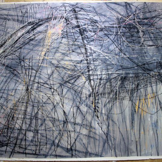 141 x 185 cm   óleo, spray, giz pastel seco, giz pastel oleoso, bastão oleoso sobre papel