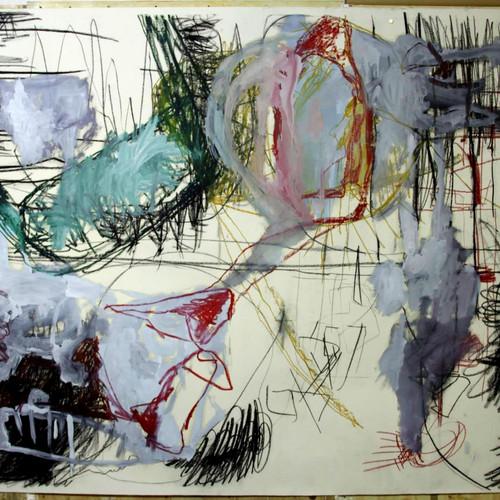 153 x 210 cm  giz pastel seco, oleoso, bastão oleoso e tinta oleo sobre papel