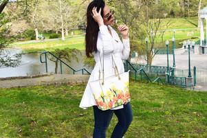 Para primavera: La Hayden Floral Saffiano tote De Calvin Klein